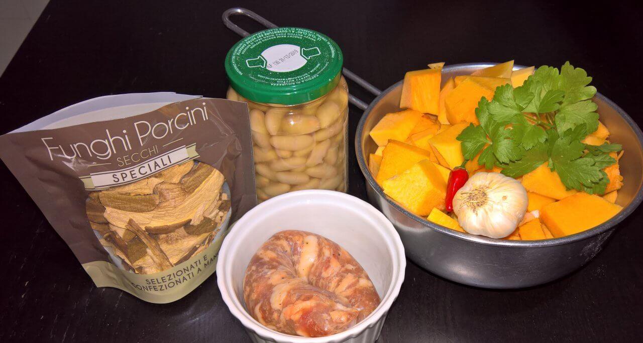 Zuppa d'autunno -Zucca fagioli e funghi